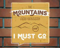 Outdoor inspiration background. Motivation mountain brochure quote template. Winter snowboard sport flyer.. Mountains are calling adventure elements. Vector Stock Image