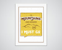 Outdoor inspiration A4 frame. Motivation mountain poster quote template. Winter or summer explorer flyer.. Mountain calling adventure elements. Vector vintage Stock Photo