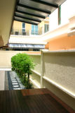 Outdoor interior design. Outdoor terrace with timber decking and shelter Royalty Free Stock Photography