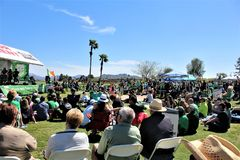 Irish Fountain Fest 2019, Fountain Hills, Arizona in the United States. Outdoor Irish Fountain Fest 2019 celebration for Saint Patrick`s Day in Fountain Hills stock photo