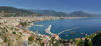 Outdoor island coast shore nautical travel alanya, port, ship, breakwater. Outdoor island coast shore nautical travel alanya port ship Royalty Free Stock Photo