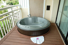 Outdoor jacuzzi at the luxury hotel Stock Photos