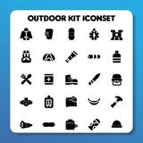 Outdoor kit icon set Solid style royalty free stock images