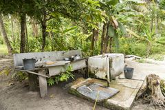 Outdoor kitchen at the edge of rainforest. Simple outdoor kitchen in the margins of rainforest on Solomon Islands, South Pacific Ocean Stock Images