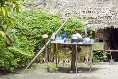 Outdoor kitchen at the edge of rainforest. Simple outdoor kitchen in the margins of rainforest on Solomon Islands, South Pacific Ocean Stock Photo