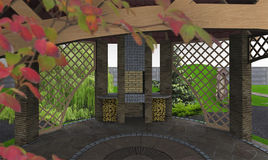 Outdoor kitchen gazebo ideas, 3D render. Relaxing and peaceful mixing the outdoors with the indoors. Textured and shadered visualization scene Royalty Free Stock Photos