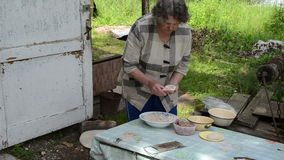 Outdoor kitchen grandma Stock Photos