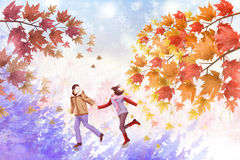 Outdoor landscape of Lovers to enjoy dating in the late fall - Graphic texture of painting techniques Royalty Free Stock Images