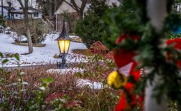 Outdoor lantern with snow at holiday season Royalty Free Stock Photos