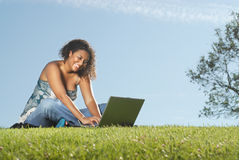 Outdoor Laptop Stock Image