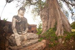 Outdoor large ancient Buddha of Yadana Hsemee Pagoda Complex. Royalty Free Stock Images