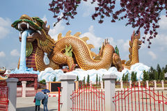Outdoor large golden dragon. In Chinese temple,Middle of Thailand Royalty Free Stock Photo