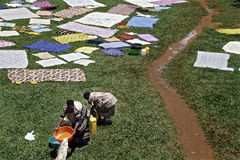 Outdoor Laundry in Mulago Hospital, Kampala. Uganda, capital, city Kampala: Aerial shot, view of washing women between the hospital buildings, on a lawn. The Stock Images