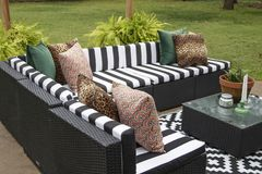 Outdoor lawn furniture with black and white crisply striped upholstery and assorted pillows grouped around a table with ferns on a. Patio in yard with grass and stock image