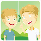 Outdoor learning (vector). Father and son observing a caterpillar at country side Royalty Free Stock Image