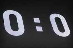 Outdoor LED panels on the stadium. Scoreboard showing 0-0 at the beginning of the soccer match. Royalty Free Stock Photography