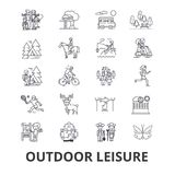 Outdoor leisure related icons. Outdoor leisure, vacaton, activity, hobby, lifestyle, travel line icons. Editable strokes. Flat design vector illustration symbol stock illustration
