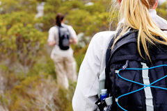 Outdoor lifestyle. Rear view of a women trekking outdoors with a backpack stock image