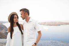 Happy young couple on Santorini royalty free stock photo