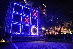 Outdoor lighting festival with immersive light ` Tic-Tac-Toe game ` installations and projections ` in Vivid Sydney`. SYDNEY, AUSTRALIA. – On May 27, 2012 stock photography