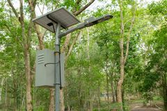 Free Outdoor Lighting Pole, Street Light Led Pole With Small Solar Cell Panel In Public Park Stock Photo - 140052760