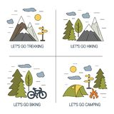 Set of linear landscapes design. Vector illustrations for hiking trekking tourism and travels concept. Outdoor line icons with open paths. Summer recreation on Royalty Free Stock Photography
