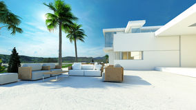 Outdoor living area in a modern tropical villa Stock Photography