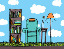 Outdoor living. Cartoon illustration of an outdoor living Royalty Free Stock Photo