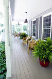 Outdoor Living under a covered porch Stock Photos