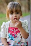 Outdoor location portrait of toddler royalty free stock photo