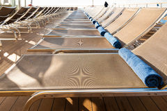 Outdoor lounge area on stern of cruise liner Royalty Free Stock Photo