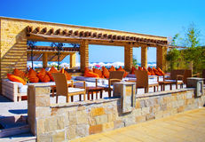 Outdoor lounge on Sunny Beach, Bulgaria Stock Image