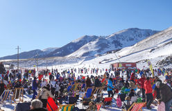 Outdoor lounge on winter sport resort stock images