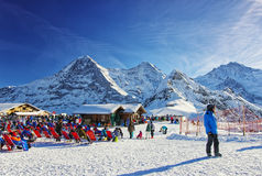 Outdoor lounge on winter sport resort in swiss alps highlands Stock Photos