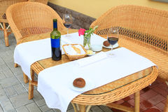 The outdoor lunch at resort. The outdoor lunch and wicker furniture at resort Stock Photos