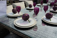 Outdoor luxury Dining Table set Stock Image