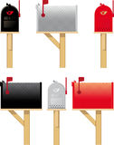 Outdoor mailboxes in three different colors. Side view and front view stock illustration