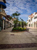 Outdoor  Mall Early Morning. Beautiful outdoor shopping mall in Orlando, Florida with palm trees, restaurants, boutique stores and special food shops.  A great Stock Photos