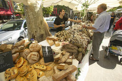 Outdoor market, bread seller in Aix en Provence, France Stock Photo