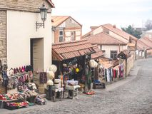 Outdoor market with carpets and traditional souvenirs on street. In Mestia, Georgia Royalty Free Stock Photography