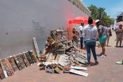 An Outdoor Market in Cartagena. Cartagena, Columbia -- April 21, 2018. Street merchants display wares for sale on the street in Cartagena, Columbia. Editorial stock photo