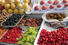 Outdoor market in china. Fresh and dried fruit outdoor market in china Royalty Free Stock Images
