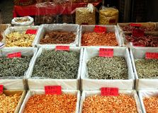 Outdoor Market for Dried Seafood Royalty Free Stock Images