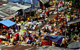 Outdoor market in Java, Indonesia. Stalls in outdoor market of Java, Indonesia on sunny day Stock Photography