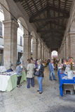 Outdoor market in old fish market gallery in Rimini, Italy. Royalty Free Stock Photos