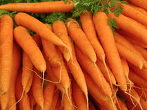 Outdoor market in Paris with fresh carrots Stock Photography