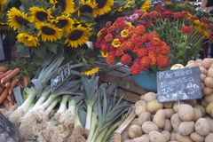 Outdoor Market - Provence, France. Vegetables and flowers for sale at a fresh air market in Provence Stock Images