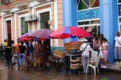 Outdoor market on the street in Cuba. On a rainy day Stock Images