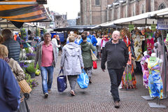 Outdoor market on the town square of Haarlem Royalty Free Stock Image