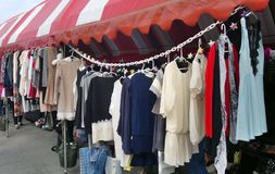 Outdoor Market for Used Clothing stock photos
